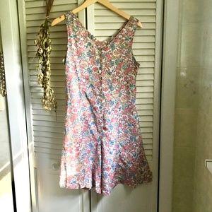 Vintage Pants - (Vintage} Floral Culotte Tank Button Down Romper